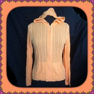 Orange Sweater Hood Zipper by Sonoma Small